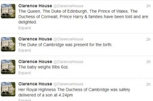 @Clarenhouse announces on Twitter birth of Royal Baby