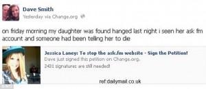 Hannah Smith father Dave Smith announces to FAcebook of suicide