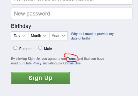 FAcebook sign up