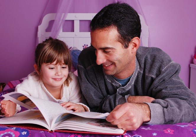 reading, father and daughter