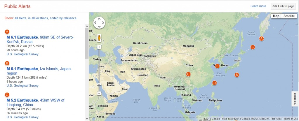 Google Public Alerts,World Disasters, Google Disaster relief