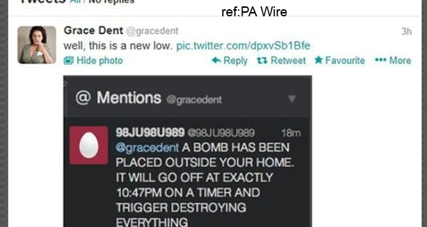 grace dent twitter page, bomb threat hoax