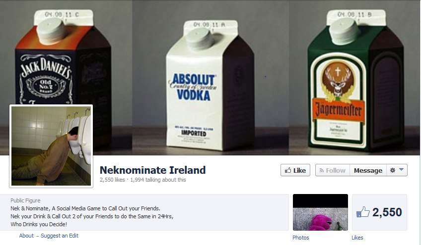 neknomination Ireland, facebook