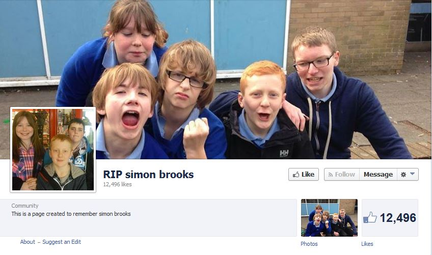 Simon Brooks Memorial Facebook page