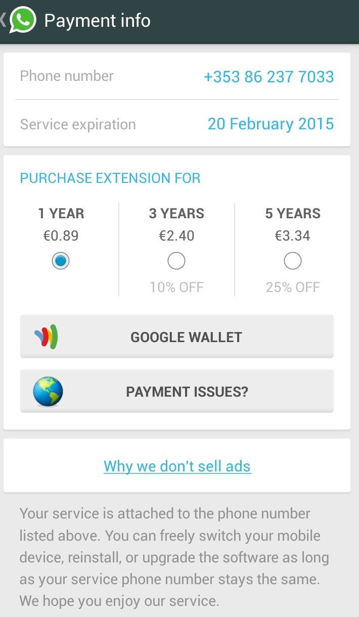 whatsapp, payment info